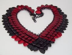red-and-black scale mail necklace $90