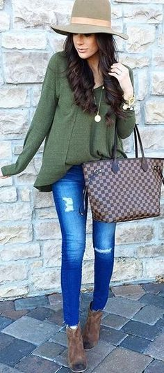 #fall #outfit #ideas | Khaki + Denim