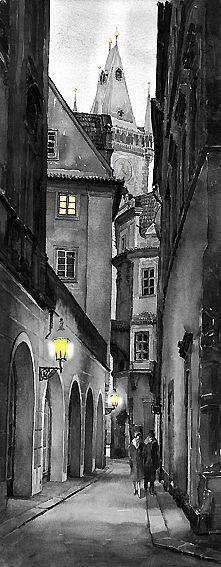 Prague Love Story Fine Art Print by Yuriy Shevchuk Loved Prague. Very romantic. Abstract Canvas, Oil Painting On Canvas, Painting & Drawing, Pink Abstract, Arte Black, Black Art, Umbrella Art, Drawing Umbrella, White Umbrella
