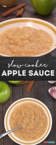 Homemade applesauce is almost too easy to make and tastes way better than store-bought. Just gather up your apples, a couple sticks of cinnamon, some salt, and lemon juice and you're on your way. Making it in the slow cooker is wonderfully simple and you can make big batches to freeze or can to enjoy throughout the year. Click for the video and enjoy!  #apples #yum