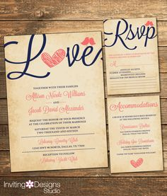 Rustic Wedding Invitation, Love Bird, Coral and Navy, Vintage, RSVP Card, Accommodations Card, Printable Wedding Suite (PRINTABLE FILE) by InvitingDesignStudio on Etsy