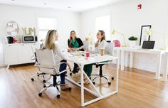 nice to work here - Parsons Desks + Industrial Task Lamps + Swivel Leather Desk Chairs from West Elm Office Decor, Home Office, Office Set, Office Workspace, Office Spaces, Parsons Desk, Im Coming Home, Industrial Desk, Modern Industrial