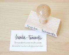 "Business Card Stamp - Custom 2 3/4"" Business Card or Etsy Shop Stamp for business cards and shop packaging. $50.00, via Etsy."