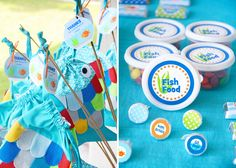 "Cutest ""Under the Sea"" birthday party-- would totally work for a ""Rainbow Fish"" theme. 3rd Birthday Parties, Birthday Fun, Birthday Ideas, Kid Parties, Gone Fishing Party, Dolphin Party, Octonauts Party, Ocean Party, Rainbow Fish"