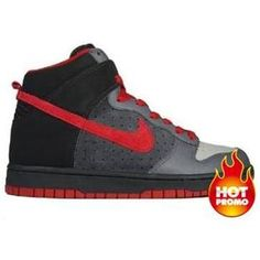 Mens Nike Dunk High Medium Ggrey Varsity Red Black b7c00a599