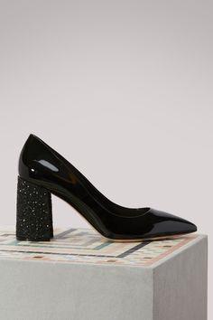 fdba2fb2a4db Buy Miu Miu Leather Pumps With Glitter Heels online on 24 Sèvres.