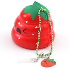 scented red Crazy Poo strawberry squishy by Puni Maru