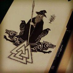 #VikInkTober day 5 Hail to #Odin!! Tribute to the Allfather on his day of week! **Dia 5 do desafio #Inktober na minha versão #Viking. Hail a #Odin!! Tributo ao Pai de todos no seu dia da semana!   #inktober2go #Inktoberchallenge #ink #inkart #artwork #wotan #odinn #asatru #pagan #heathen #dotwork #lineart #art #arte #artist #instartist #khriztianleon #norse #nordic #geriandfreki #huginandmuninn #wednesday #odinday