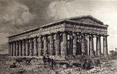 1878 - templo de PAESTUM Grecia Magna Graecia - grabado. Renacimiento italiano. Antigua ciudad. Más de 130 años.