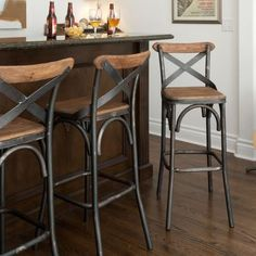 The Kosas Home Dixon Rustic Bar Stool is perfect for any style or room decor. The convenient height and well-placed footrest of this rustic stool, allows for the the perfect fit for any space bringing Bar Stools With Backs, 24 Bar Stools, Kitchen Stools, Bar Chairs, Counter Stools, Rustic Bar Stools, Outdoor Bar Stools, Room Chairs, Industrial Bar Stools