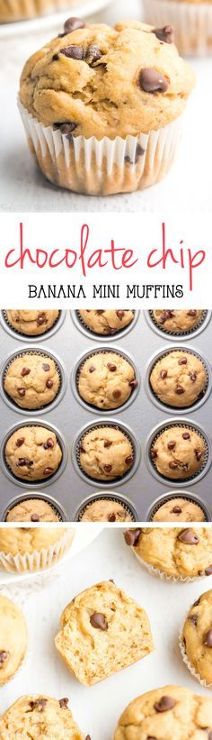 Healthy Chocolate Chip Banana Mini Muffins -- SO easy & good! Like eating cupcakes for breakfast! And they're just 45 calories!