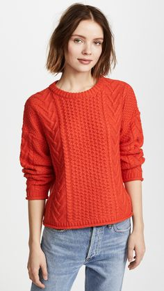Madewell Solid Rib Cable Crew Neck Shirt In Bright Poppy Early Black Friday, Crew Neck Shirt, Cable Knit Sweaters, Work Wear, What To Wear, Pullover, Knitting, Fashion Design, Tricot