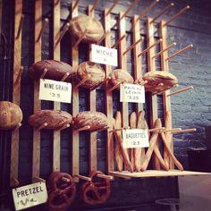 Wall of bread at Easy Tiger Bake Shop & Beer Garden.