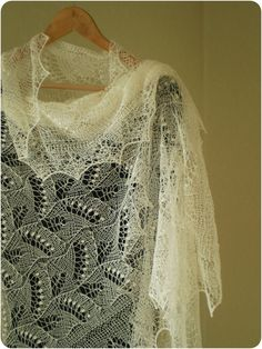 RESERVED Hand knitted natural white wedding shawl by KnitANDlace,