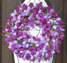 A personal favorite from my Etsy shop https://www.etsy.com/listing/228102574/multi-colored-purple-tulip-wreath-tulip
