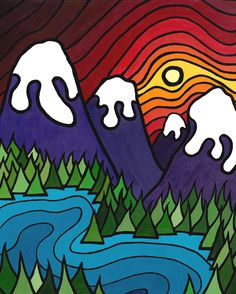 "The Kootenays, Bold Colourful 11"" x 14"" Fine Art Print--Buy Any 2 Prints & Get a 3rd FREE. $40.00, via Etsy."