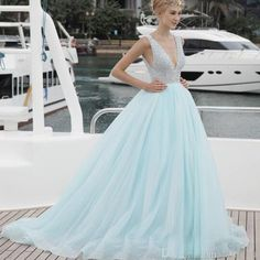 V-Neck Prom Dress 2017 Pearls Beading Long Evening Formal Party Gowns Matte Minit Green Saudi Arabia Lady Puffy Dresses E1809