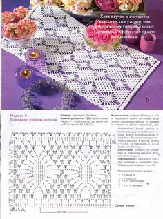 It is a website for handmade creations,with free patterns for croshet and knitting , in many techniques & designs. Crochet Table Runner Pattern, Crochet Borders, Crochet Tablecloth, Crochet Diagram, Crochet Stitches Patterns, Crochet Chart, Thread Crochet, Filet Crochet, Crochet Motif