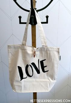 Recycled Cotton Tote Bag - Love | Cotton Tote Bag customized with heat transfer vinyl designed and created by Netties Expressions | © 2017 Netties Expressions | https://www.nettiesexpressions.com