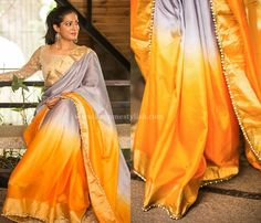 Looking for blouse designs photos? Here are our picks of 30 trending saree blouse models that will blow your mind. Indian Sarees, Silk Sarees, Saree Blouse Models, Plain Saree, Saree Look, Saree Styles, Traditional Dresses, Indian Wear, Blouse Designs