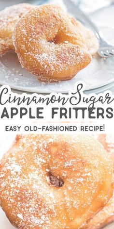 Old Fashioned Cinnamon Sugar Apple Fritters Are you looking for the BEST Apple Fritter recipe? You should give this easy homemade version a try. The apple rings are fried and then dipped into cinnamon sugar – fall perfection! I love old fashioned desserts Apple Fritter Recipes, Apple Dessert Recipes, Cinnamon Recipes, Köstliche Desserts, Donut Recipes, Apple Recipes, Fall Recipes, Cooking Recipes, Easy Apple Desserts
