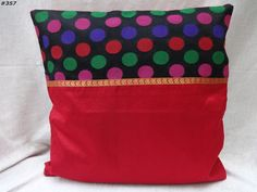 "16"" decorative faux silk polyester cushion cover pillow cover india #357  #Handmade"
