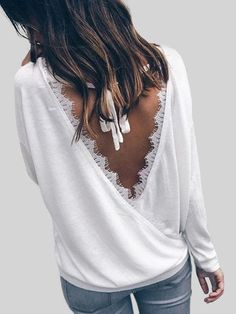 White Lace Details Cross Back T-shirt