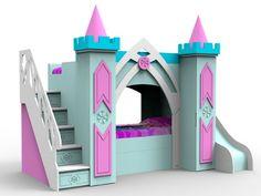 Deciding to Buy a Loft Space Bed (Bunk Beds). – Bunk Beds for Kids Safe Bunk Beds, Girls Bunk Beds, Kid Beds, Girls Bedroom, Bedrooms, Princess Bed With Slide, Princess Bunk Beds, Stair Plan, Frozen Bedroom