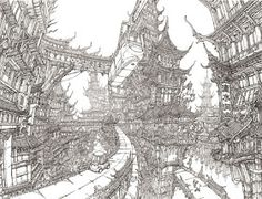 Pencil drawing of Chinatown 2050 by Min Seub Jung. Environment Concept, Environment Design, Fantasy Drawings, Fantasy Art, Environmental Art, Character Design References, Line Art, Concept Art, Urban Concept