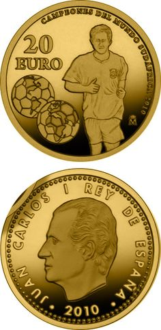 N♡T.20 euro: World Champions in South Africa 2010.Country: Spain Mintage year:2010 Face value:20 euro Diameter:13.92 mm Weight:1.24 g Alloy:Gold Quality:Proof Mintage:12,000 pc proof