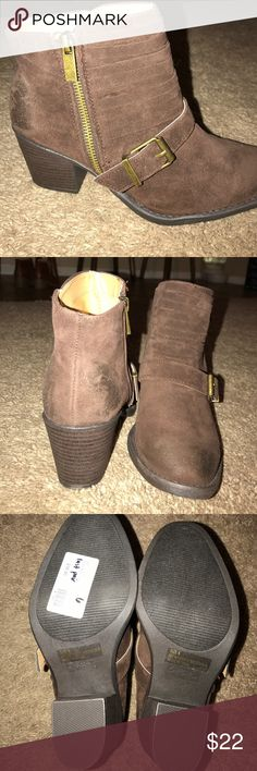 Brown buckle booties Adorable booties. NEVER WORN! Has a zipper on the side for easy slip on. Has natural scuff on front and back for cute vintage look! Qupid Shoes Ankle Boots & Booties