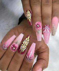 Expand fashion to your nails by using nail art designs. Donned by fashionable stars, these kinds of nail designs will add instantaneous style to your wardrobe. Pink Acrylic Nail Designs, Pink Acrylic Nails, Nail Art Designs, Stylish Nails, Trendy Nails, Gorgeous Nails, Fabulous Nails, Fancy Nails, My Nails