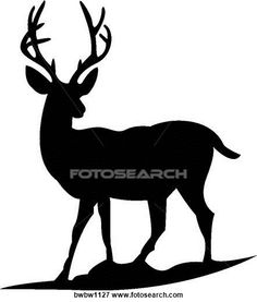 Clip Art of Deer Silhouette BWBW1127 - Search Clipart, Illustration Posters, Drawings, and EPS Vector Graphics Images - BWBW1127.jpg