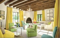 Wood ceiling beams yellow curtains drapery green slipper chair white walls blue turquoise louis chair white tufted sectional sofa sisal rug living room