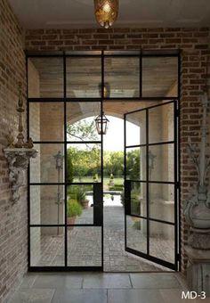 Double French Doors, French Doors Patio, French Patio, Black French Doors, French Windows, Steel Doors And Windows, Steel Frame Doors, Glass Pantry Door, Industrial Door