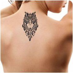 Temporary Tattoo 1 Owl Tattoo Ultra Thin Body Art by UnrealInkShop - Tattoos Back Tattoos, Love Tattoos, Body Art Tattoos, New Tattoos, Tribal Tattoos, Tattoos For Guys, Tattoos For Women, Ankle Tattoos, Circle Tattoos