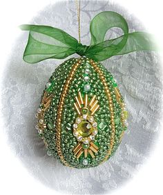 Faberge-like Beaded Egg Ornament Green by janiechampagnie on Etsy