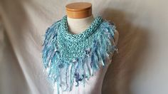 Blue Fringe scarf Summer knit triangle Satiny by 910woolgathering
