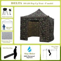 10'x10' Pop up Canopy Wedding Party Tent Gazebo EZ Camouflage - F Model Commercial Frame By DELTA Canopies
