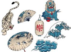 National Japanese symbols set vector