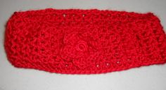 Red crocheted ear warmer with flower//hair accessories//gift for her//Christmas gift by CrochetByTeresa on Etsy