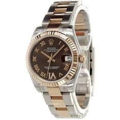 Rolex 'Datejust' analog watch (249.382.380 VND) ❤ liked on Polyvore featuring jewelry, watches, metallic, shoulder chain jewelry, rolex, stainless steel wrist watch, stainless steel jewelry and dial watches