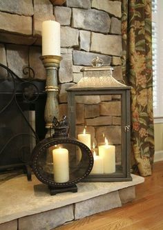 this grouping of lanterns & candles; flameless candles maybe?Love this grouping of lanterns & candles; flameless candles maybe? Traditional Family Rooms, Candles In Fireplace, Decor, Lanterns, Rustic House, Mantel Decorations, Candle Lanterns, Fireplace, Fireplace Hearth