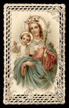 old holy card lace canivet merlettato MATER DEI