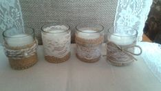 Twine, lace and burlap tea candles for wedding on Etsy, $12.00