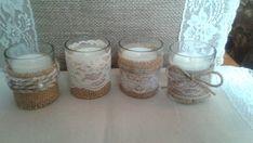 Bindfäden, Spitzen und Jute-Tee-Kerzen für Hochzeit