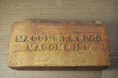 """ANTIQUE FIRE BRICK """"MACOMB .T. & SP.CO  MACOMB ILL""""  MACOMB TILE & SEWER PIPE CO"""