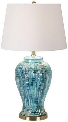 Teal Temple Jar Lamp