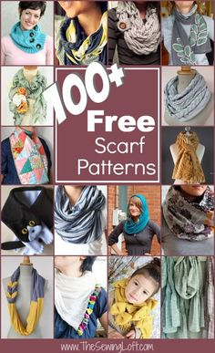 100+ Free Scarf Patterns Rounded Up in one place. Some of these look really uncomfortable but lots of cute ideas too!