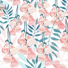 Painted foxgloves by Chloe Hall #painting #floral #flower #pattern #print #design
